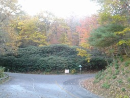 Intersection near Cowee Overlook. Right to visitor center and cabins. Left to campgrounds.